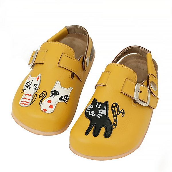 【Jingle】貓咪俱樂部前包後空軟木休閒鞋(芥茉黃兒童款)