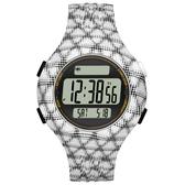 adidas 勁戰狙擊大面板電子腕錶-白黑網格-小