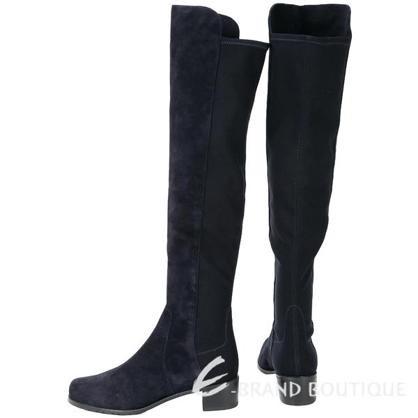[ NG品 大放送 ]Stuart Weitzman RESERVE 深藍色麂皮拼接過膝長靴 1590103-34