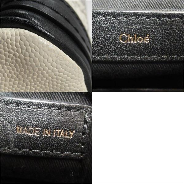 Chloe 克羅伊 黑/白色牛皮壓蜥蜴皮紋手提肩背兩用包 【二手名牌BRAND OFF】