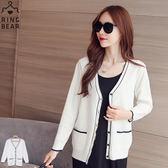 針織外套--優雅氣質大V領局部配色雙口袋白色針織外套(白XL-5L)-J304眼圈熊中大尺碼