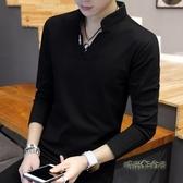 2020秋季新款男士長袖T恤韓版潮流衛衣V領百搭男裝衣服POLO衫體恤「時尚彩紅屋」