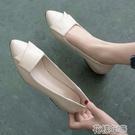 一腳蹬皮鞋平底單鞋女新款春秋淺口粗跟尖頭女鞋軟皮軟底百搭皮鞋工作 快速出貨