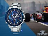 【時間道】CASIO|EDIFICE時尚智能藍牙三眼計時腕錶/藍面藍框鋼帶 (EQB-900DB-2A)免運費