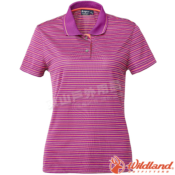 Wildland 荒野 0A61601-58葡萄紫 女涼感條紋Yoke上衣 抗紫外線/涼爽散熱/吸濕快乾/條紋POLO衫
