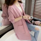 長款針織外套女士針織外套女秋中長款純色韓版寬鬆學生毛衣開衫春裝新款外搭潮