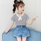 女童短袖上衣 女童洋氣T恤短袖夏季半袖夏裝寬鬆正韓兒童中大童上衣夏天-Ballet朵朵