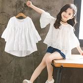 女童短袖t恤2021年夏季新款韓版寬鬆兒童夏裝洋氣中大童雪紡上衣 幸福第一站