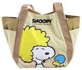 【卡漫城】 Snoopy 帆布手提袋土黃㊣版便當袋史努比磁扣手提包史奴比糊塗塔克外出