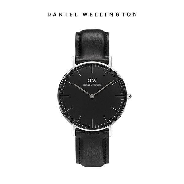 Daniel Wellington DW 手錶 36mm銀框 Classic Black 爵士黑真皮皮革錶