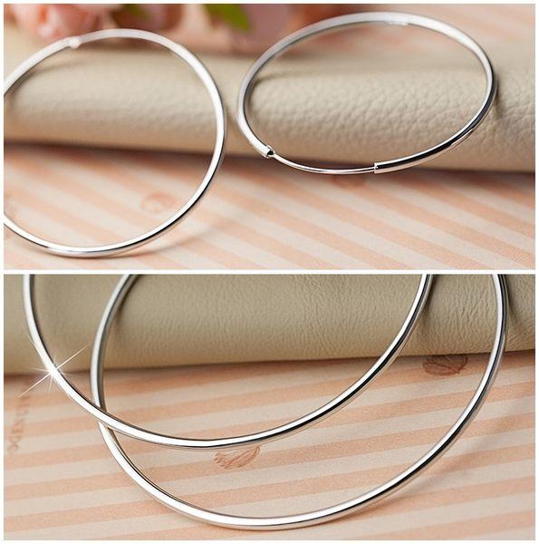 925純銀 素面細版 超大耳圈耳環-60mm、70mm 防抗過敏