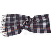 BURBERRY 彩虹格紋深藍色喀什米爾羊毛圍巾 1840315-61