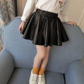618好康又一發童裝女童半身裙黑皮裙兒童短裙