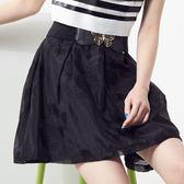 【SHOWCASE】條紋蕾絲花立體褶紗裙(黑)