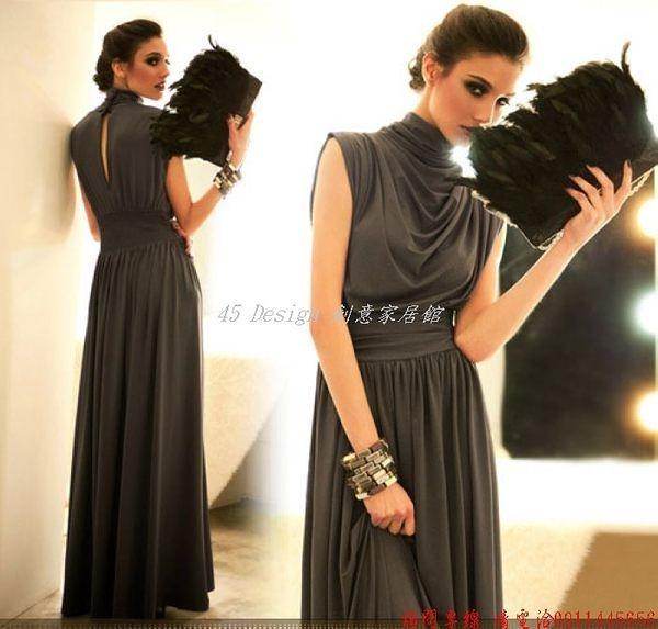 (45 Design) 現貨 歐美範大碼超長拖地長裙連身裙無袖派對晚裝敬酒晚禮服夏 灰