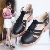 韓版時尚粗跟涼鞋一字扣帶鏤空學生羅馬涼鞋女鞋