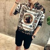 夏季男士短袖襯衫韓版寬鬆bf風發型師休閒中袖印花五分袖襯衣潮流 傑克傑克館