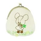 【日本進口正版】小熊學校 幸運草 刺繡 珠扣包 零錢包 收納包 The Bears' School - 099631