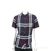 BURBERRY 格紋棉麻混紡短袖襯衫(男款/海軍藍) 1730248-34