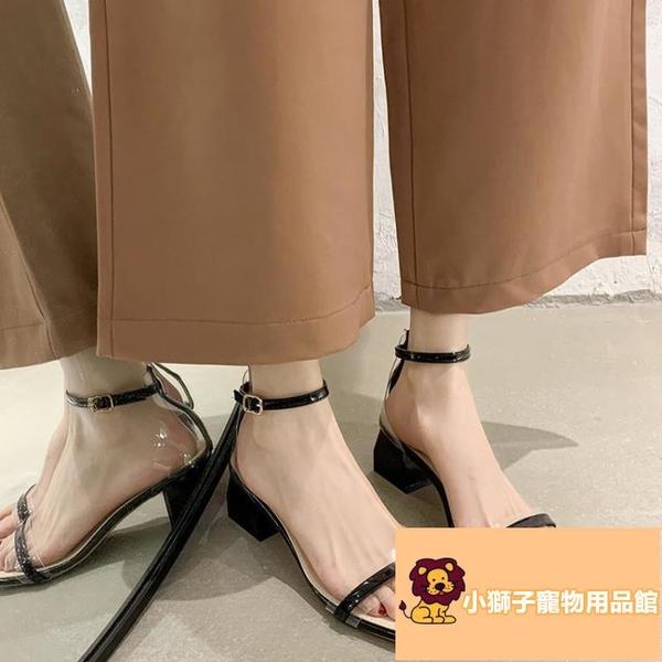 帶高跟羅馬鞋仙女風涼鞋女夏季潮粗跟一字扣【小狮子】