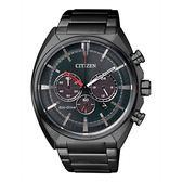 CITIZEN 星辰 率性紳士三眼光動能時尚腕錶-黑/45mm CA4285-50H