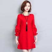 大碼女裝2020年新款春季減齡顯瘦遮跨裙子胖妹妹mm新年紅色洋裝 Korea時尚記