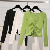 收腰上衣 牛油果綠t恤女長袖2020秋季新款修身時尚V領高腰抽繩短款收腰上衣 快速出貨