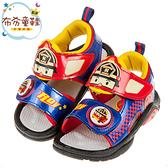 《布布童鞋》POLI救援小英雄羅伊紅色自黏兒童電燈涼鞋(15~19公分) [ B0K102A ]