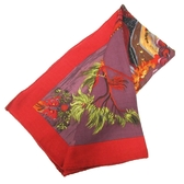 HERMES 愛馬仕 紫紅色kuggor樹圖案克什米爾羊毛混絲質圍巾 kuggor tree Storl
