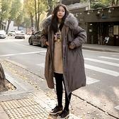 連帽外套-長版舖棉大毛領加厚寬鬆女夾克3色73wd38【巴黎精品】