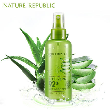韓國 NATURE REPUBLIC 92%蘆薈舒緩保濕凝膠噴霧 150ml 蘆薈 凝膠 噴霧 舒緩 保濕 化妝水 爽膚水