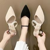 細跟高跟拖鞋 拖鞋簡約細跟涼鞋2021夏季新款韓版百搭黑色仙女風高跟鞋【快速出貨八折下殺】