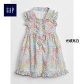 Gap女嬰兒 花卉圖案褶飾襯衫領無袖洋裝 319782-光感亮白