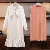 中大尺碼L-4XL/8910實拍大碼女裝秋裝減齡套裝微胖妹妹遮肚顯瘦針織毛衣兩件套4F025..1號公館