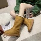 雪地靴雪地靴女冬加絨保暖平底棉鞋新款時尚百搭防水防滑加厚中筒靴