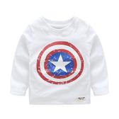 男Baby男童長袖T恤純棉美國隊長白色上衣 現貨