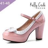 大尺碼女鞋-凱莉密碼-芭比公主撞色漆皮瑪莉珍圓頭防水台粗跟高跟鞋9cm(41-48)【SS4-4】粉色