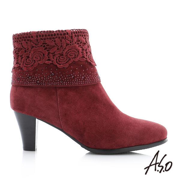 A.S.O 循環暖靴 全真皮鏤空花紋側拉鍊粗跟中筒靴 酒紅