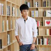 春季新款男士翻領T恤韓版修身帶領男式polo衫長袖青年上衣服