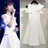 禮服 明星同款a字洋裝女2020夏季新款氣質時尚名媛白色無袖禮服裙子