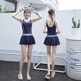 連身游泳衣女2020新款保守遮肚顯瘦裙式少女學生小胸泡溫泉泳裝女 喵小姐