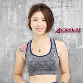 【ACTIONLINE】格紋套頭運動內衣(藍灰)