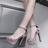14~15cm厘米超高粗跟女鞋恨天高模特女涼鞋走秀T臺魚嘴防水臺工作 優尚良品