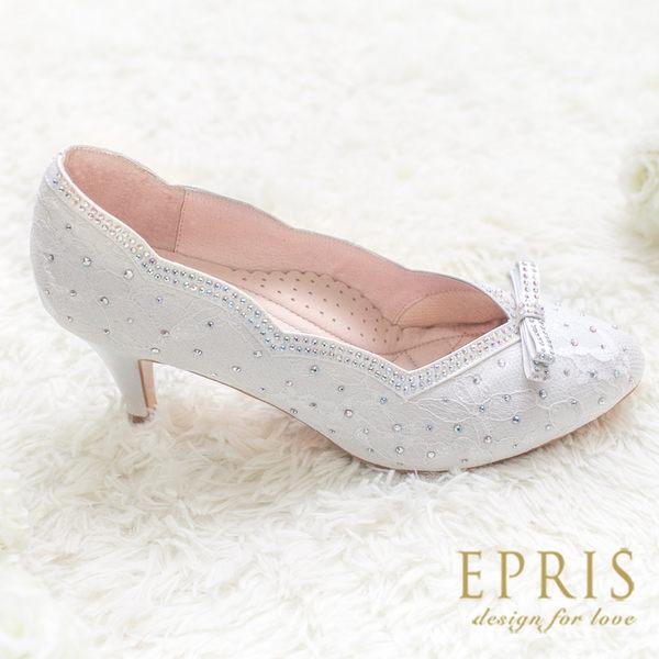 現貨 MIT尖頭鞋中跟大中小尺碼 雅緻女神 蕾絲水鑽真皮鞋墊跟鞋 20.5-25.5 EPRIS艾佩絲-浪漫白