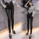 秋季2018新款韓版時尚破洞牛仔褲女緊身小腳褲顯瘦不規則高腰長褲