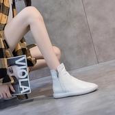 街拍牛皮高幫鞋2020秋季新款女靴子平底真皮裸靴女休閒女短靴單靴 露露日記