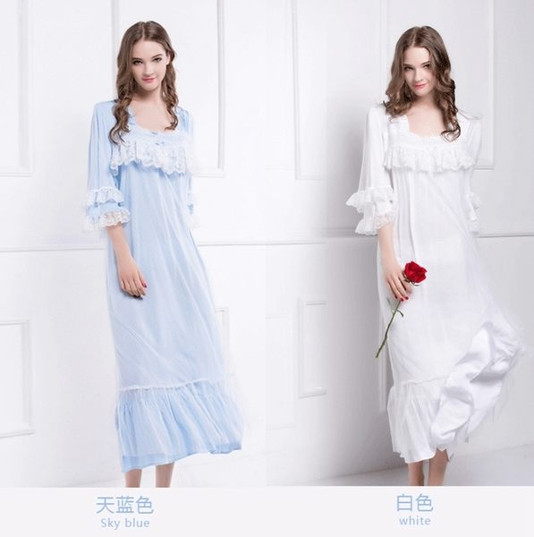 棉綢睡衣女夏季純色睡裙-dee008