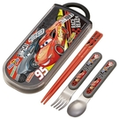 小禮堂 迪士尼 閃電麥坤 日製 滑蓋三件式餐具組 叉匙筷 兒童餐具 Ag+ (黑) 4973307-51579