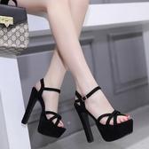 高跟涼鞋涼鞋女夏季新款夜店交叉一字帶防水台黑色超高跟鞋子  【快速出貨】
