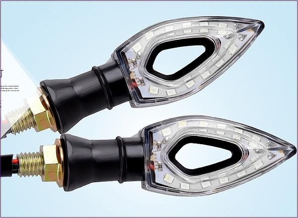 305A039  機車方向燈 中空尖款 黃光2入  後方向燈組 LED 重車 擋車 機車 電動車 野狼